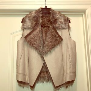 Kenneth Cole Suede & Faux Fur Vest
